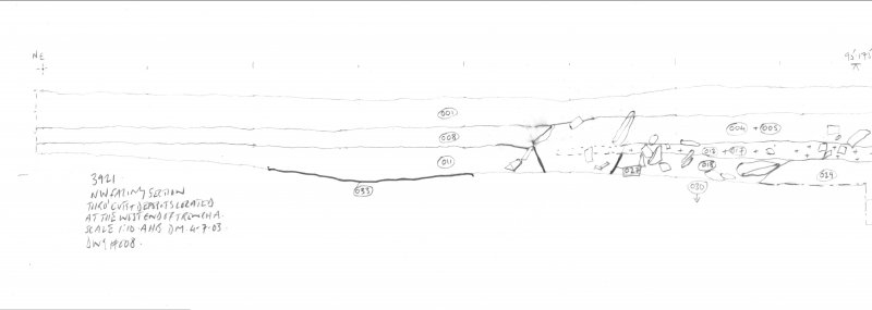 Archaeological evaluation, Scanned drawing of NW facing section at W end of Trench A, Part 2 of 2, Carghidown Castle