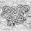 Scanned image of drawing showing interlace carving in cave to south of King's Cave, Blackwaterfoot, Arran Page 69, figure B of 'Gazetteer of Early Medieval Sculpture in the West Highlands and Islands'