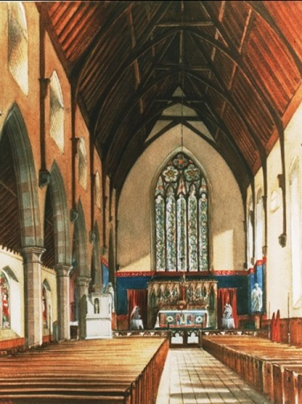 St Mary's, Star of the Sea interior in the 19th century. Church opened in 1854. This was the layout from 1854 – 1910. The altar stands in what is now the Cry chapel. There is only one aisle, to the south. The statues that can be seen flanking the altar – kneeling angels, St Joseph and the Sacred Heart – can still be seen in the church today.  From a copy of a painting hanging in the presbytery.