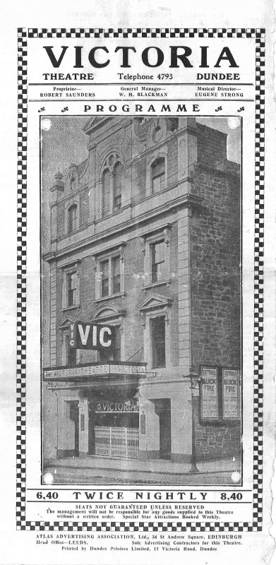 Front cover of programme, with photo of the building's frontage. The programme itself takes up only a small part of the reverse of the page; most of both sides is covered by advertisements for local firms. This issue is for the week commencing Monday 9th April 1928, when the attraction was the farewell visit of Charlie Kemble and his Super Entertainers. The programme is printed both sides on paper 38 cm wide x 25.5 cm high; folded size 13 cm wide x 25.5 cm high.