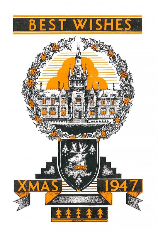 Christmas card designed for the school by R.M. MacKay, with stylized illustration of part of the main SW front and tower. Card size is W 9.5 cm x H 14 cm.