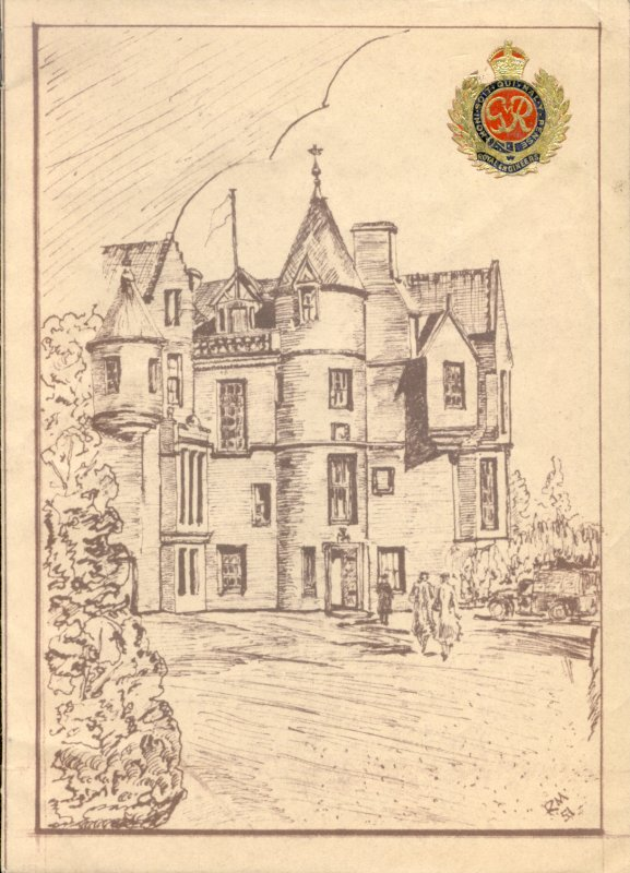 The front cover of the (Christmas?) menu and toast list features a line-drawing of Balhousie Castle, initialled 'RM' and dated [19]51, with coloured foil Royal Engineers' badge in top right-hand corner. 
