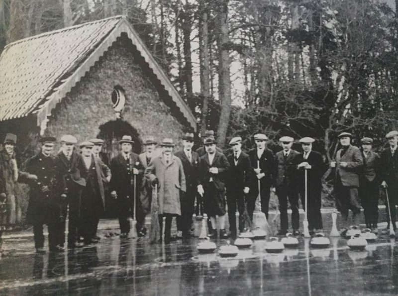 In the picture is Sir John Watson the coal master in the centre in the light coat. This was where he entertained guests and took them curling in the winter.