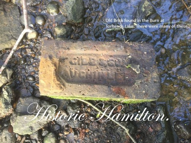 This was taken at Torheads Lake. There were many of these Bricks scattered around the marshy land. On Sunday the 23rd of April 2017 Picture courtesy of Garry McCallum - Historic Hamilton.