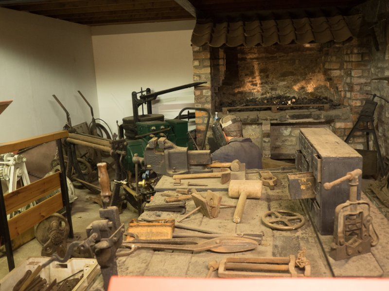 Reproduction of a blacksmith's workshop.