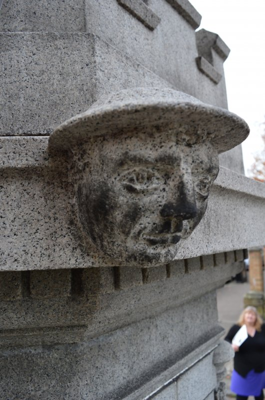 This is one of four heads, two soldiers and two sailors, on the Govan War Memorial. This head is at the north-east corner of the monument.