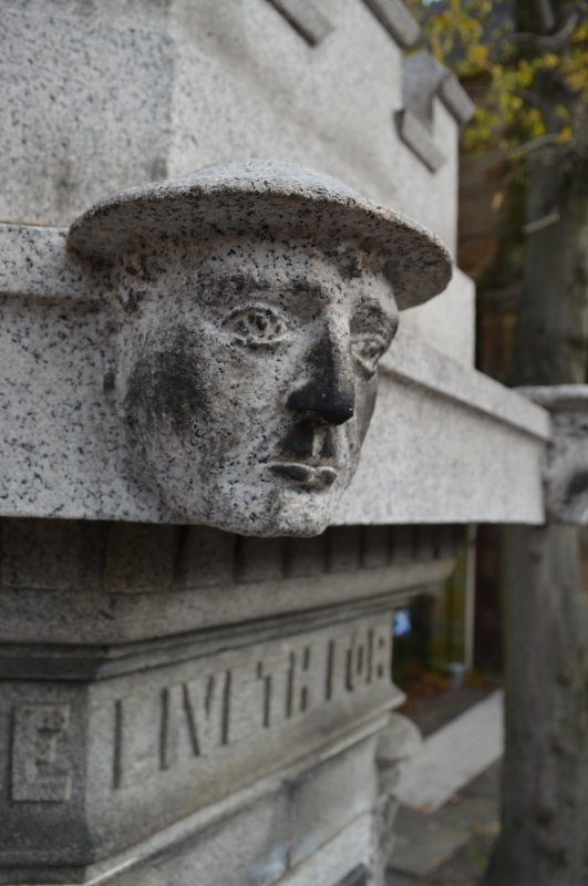 This is one of four heads, two soldiers and two sailors, on the Govan War Memorial. This head of a soldier is at the south-west corner of the monument.