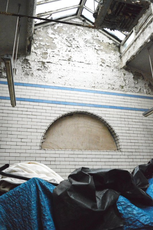 Image showing the tiling in former 'steamie' at rear of public baths. Now used as a costume store for Govanhill Theatre Group. Photograph taken 21/11/2017.
