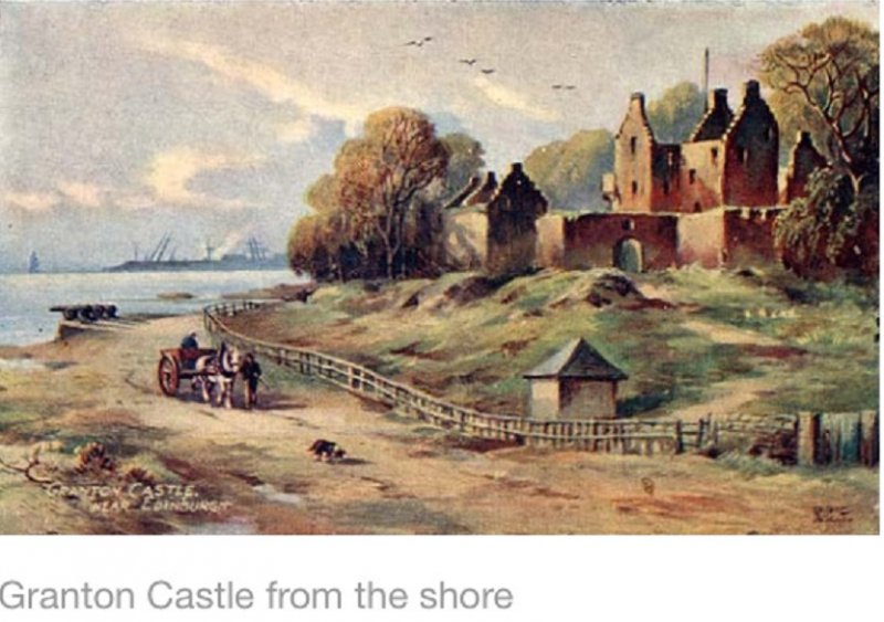 Granton Castle from the shore. 18th century. Artist Unknown.