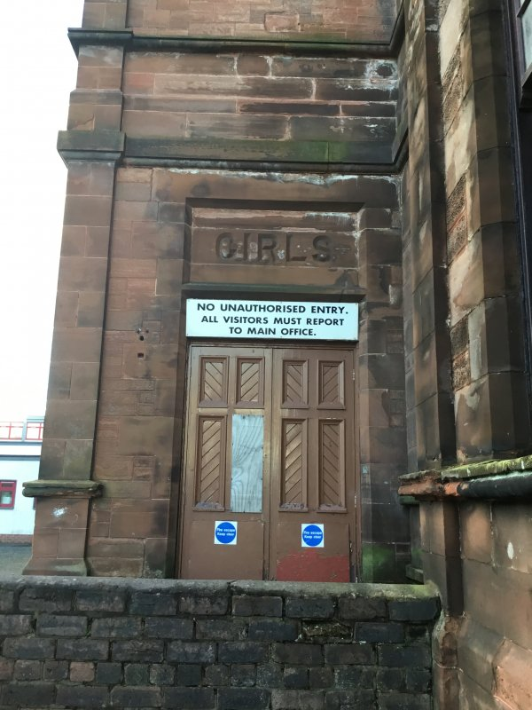 The girls entrance is the door where from 1898 – 1968 girls entered this magnificent academy. These doors are now used as fire escape doors and are rarely used. A wall in the playground separated the female pupils from the male pupils. This photo was taken by Olivia Brydon, S1 pupil at Kilmarnock Academy 2017.