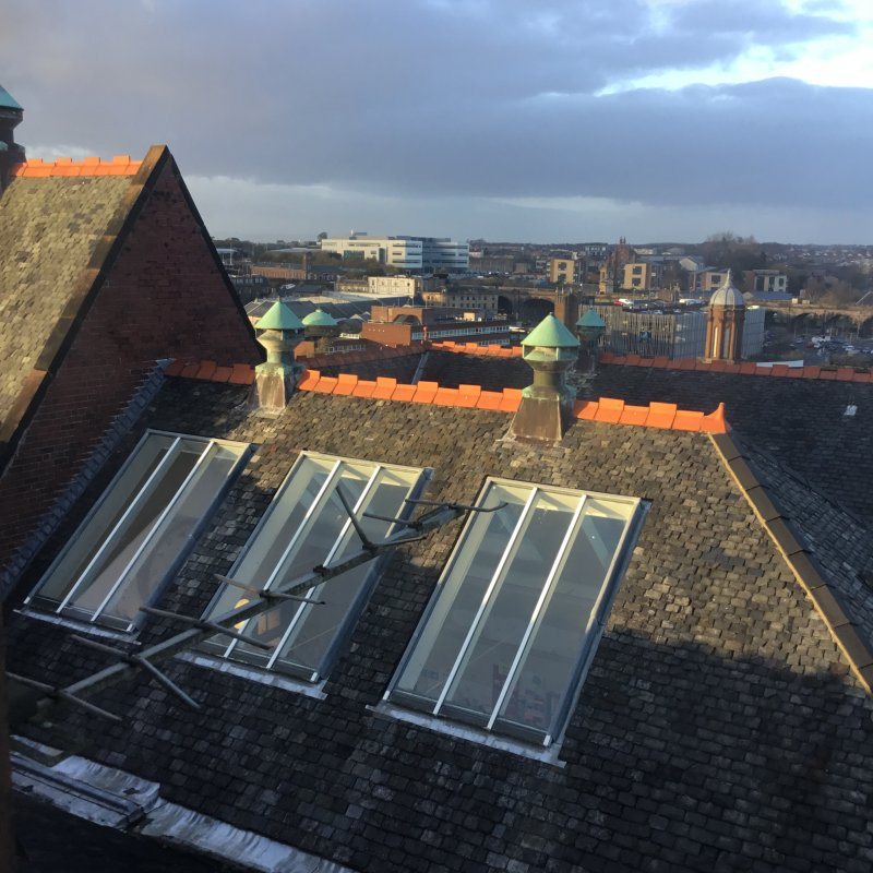 In this picture you can see the view from the tower. It is located at the top of the old building. It is one of the highest places in 