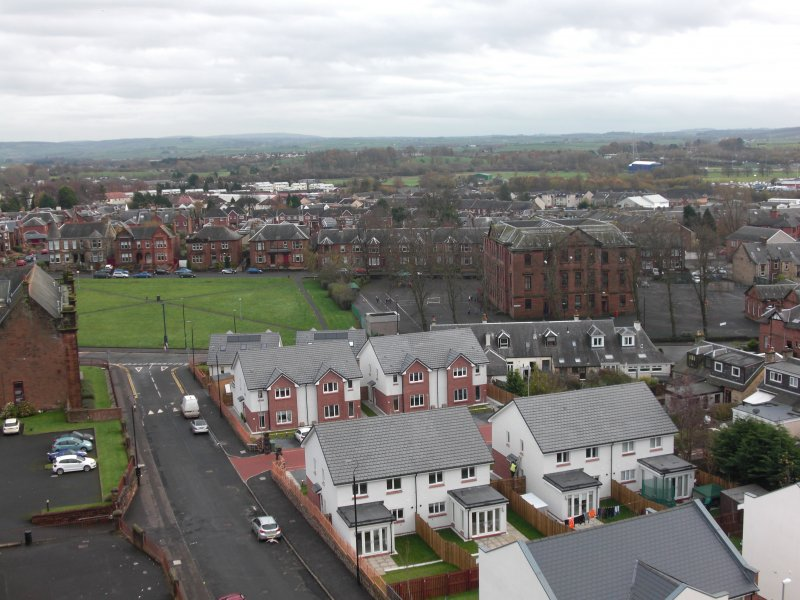 At the front of the picture you should be able to see the new houses which are where the St. Columba's Primary School used to be until it burned down in 2013. The old tech building can be viewed to the upper left hand corner and is now a housing block. To the right of the picture you can see Loanhead Primary and to the back you can see the houses on London Rd. Right at the back of the photo u can see the Ayrshire Athletics Arena.