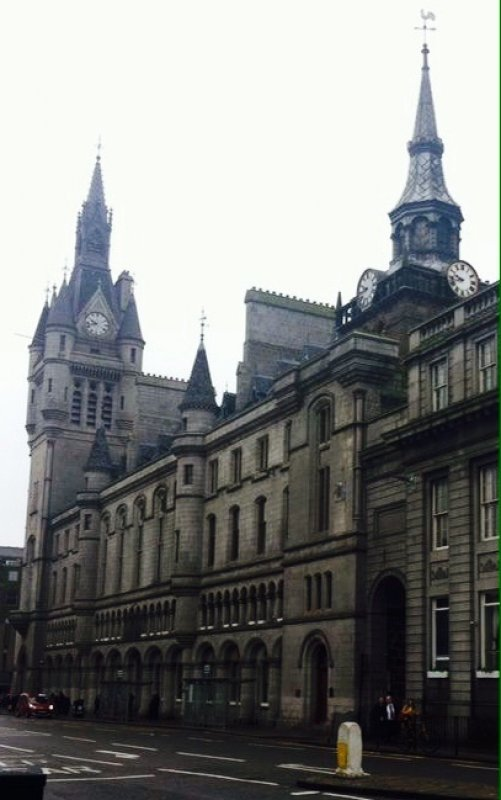 10/1/18- The Town House, the municipal headquarters of Aberdeen City Council. Designed by Peddie and Kinnear and built between 1868 and 1874. The building contains the Great Hall, the Sheriff Court House; the Town and County Hall. On the left is the 210 ft (64 m) West Tower and on the right the Tolbooth Museum with its tower dating from 1725.